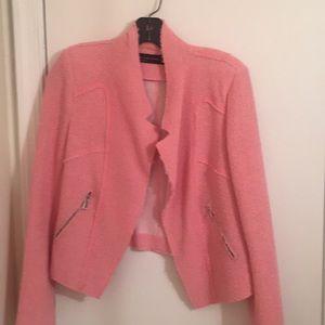 ZARA. Pink boucle knit jacket